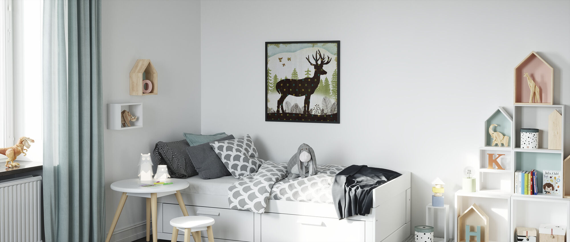 Woodland Dwellers Deer Dots - Framed print - Kids Room