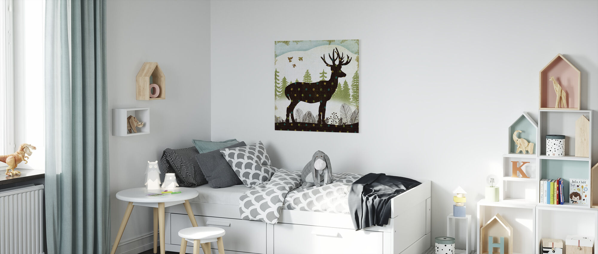 Woodland Dwellers Deer Dots - Canvas print - Kids Room