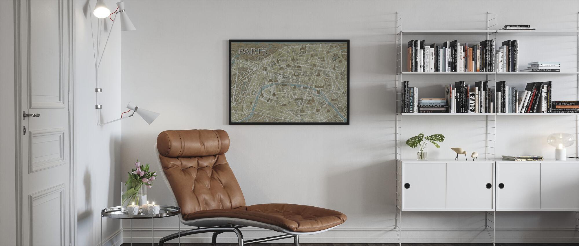 Pariisin monumentteja kartta Sininen - Kehystetty kuva - Olohuone