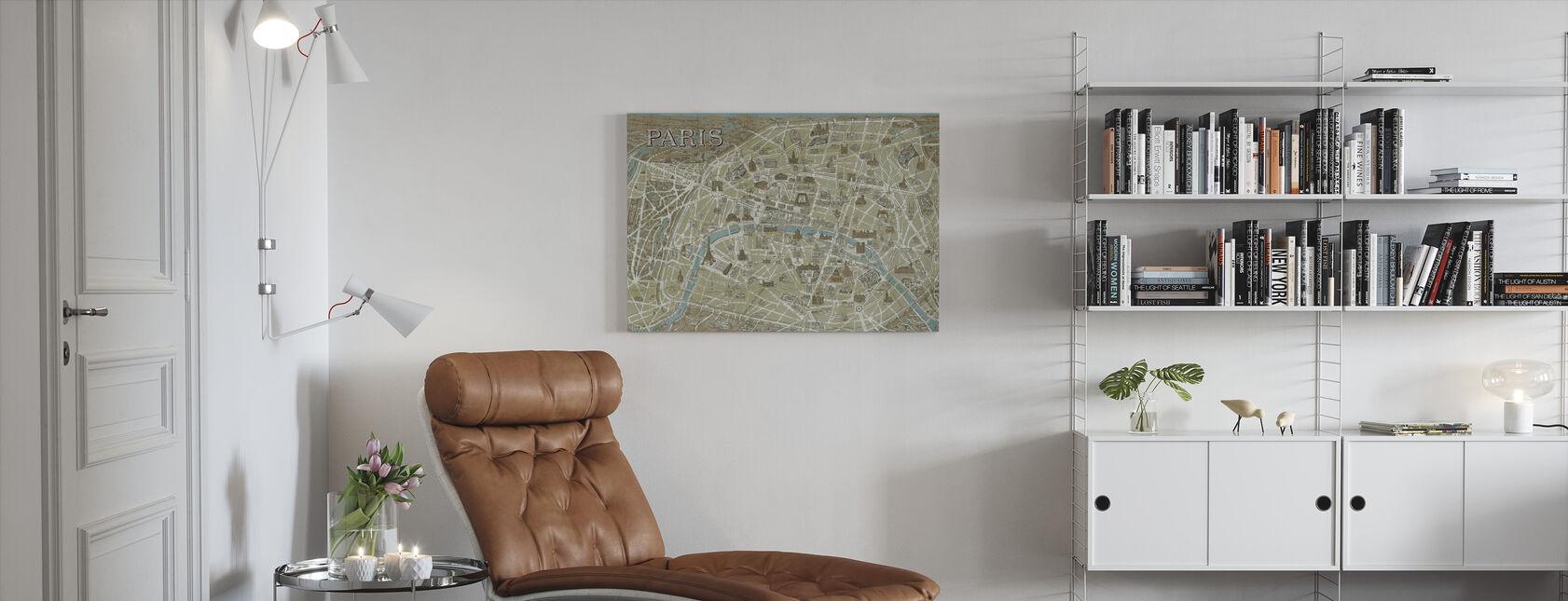 Monuments of Paris Map Blue - Canvas print - Living Room