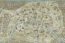 Fototapet - Monuments of Paris Map Blue
