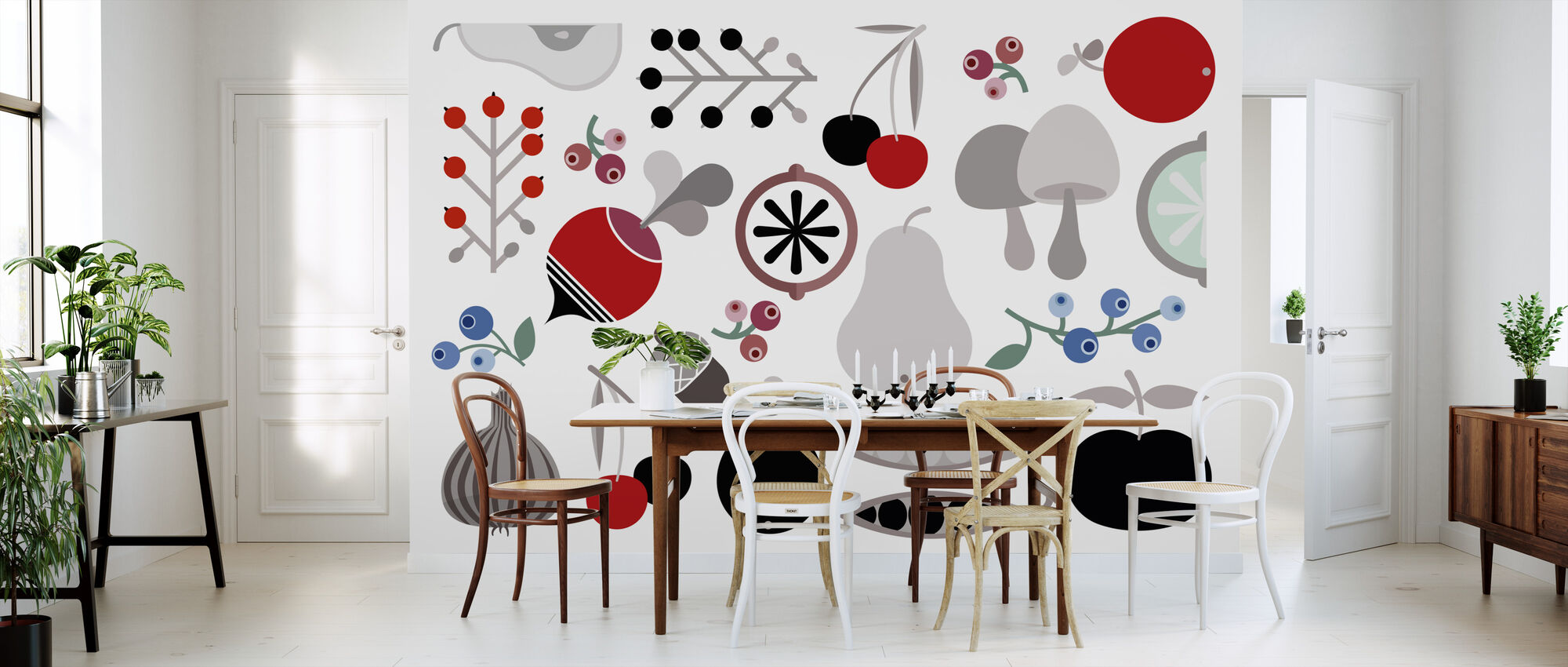 Mushroom Berries Nuts and Fruits - Wallpaper - Kitchen