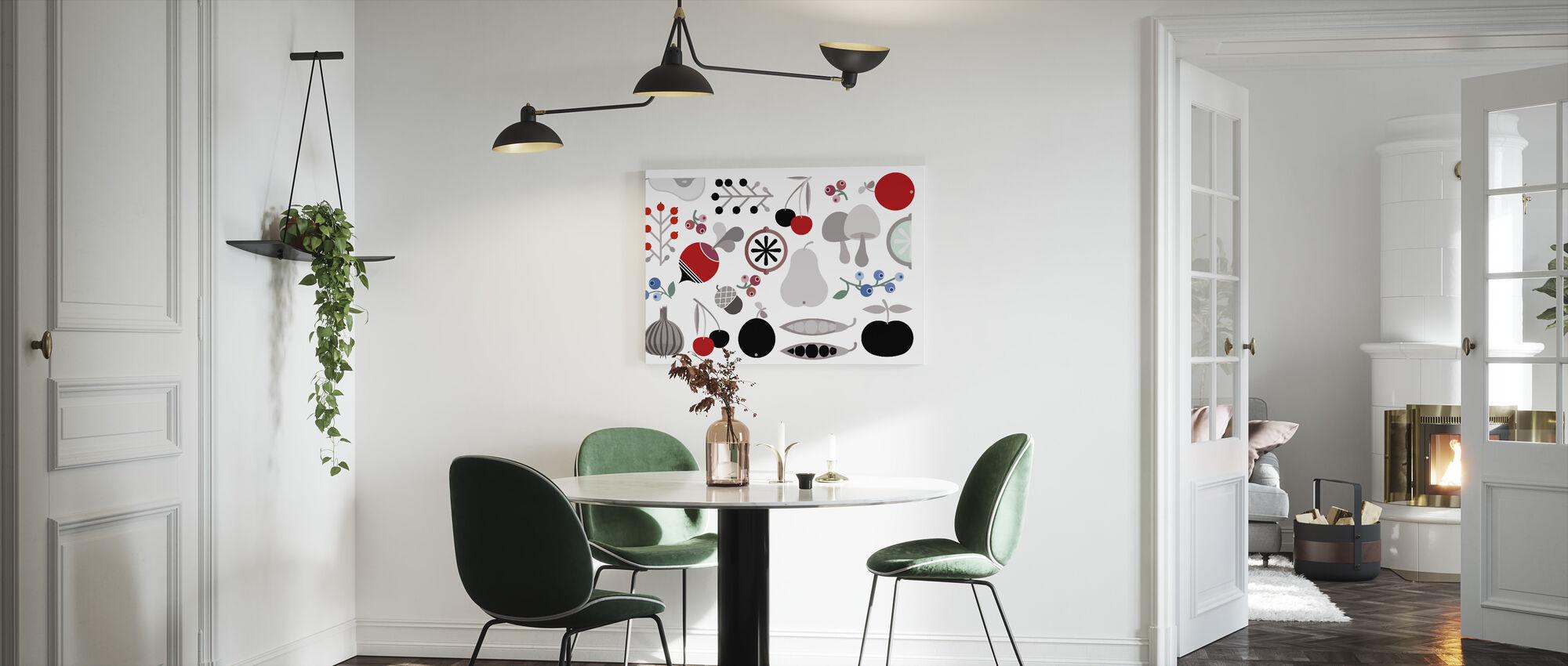 Orzechy i owoce jagód grzybowych - Obraz na płótnie - Kuchnia