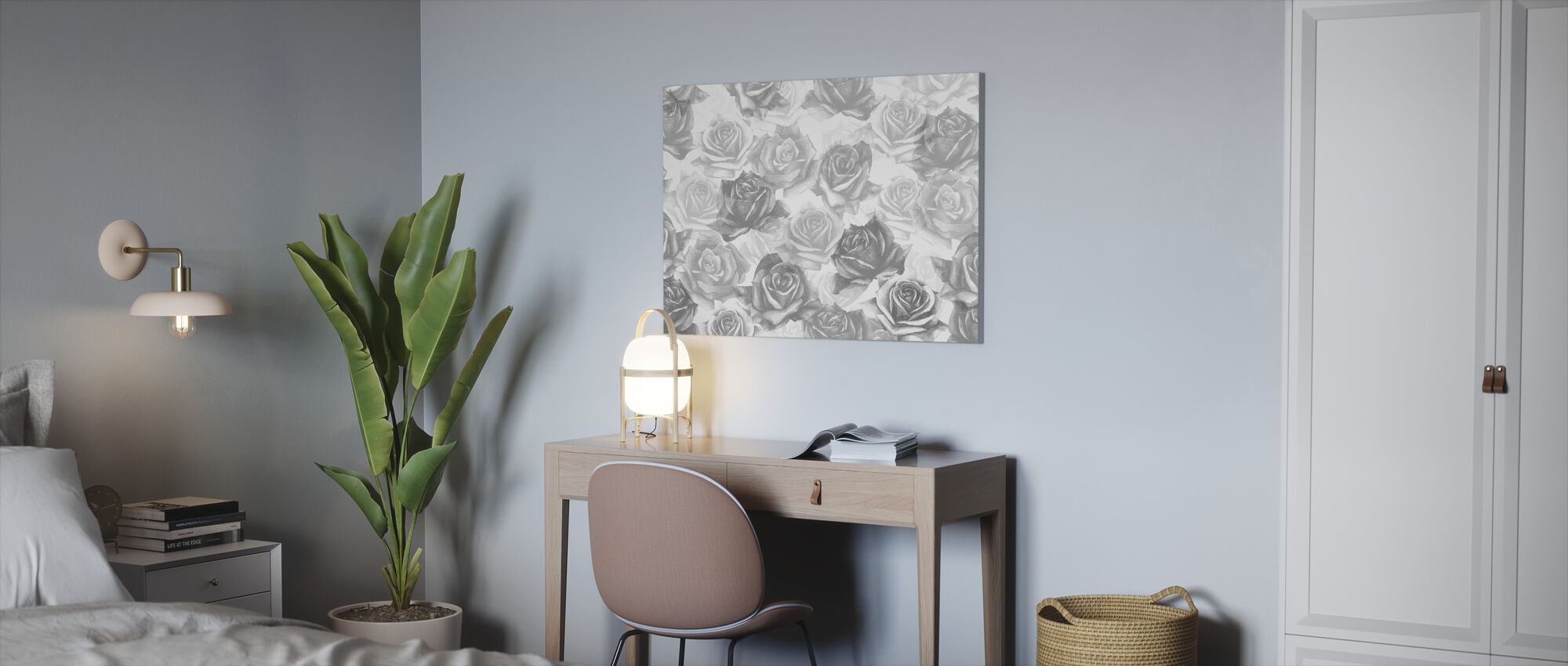 My Grey Roses - Canvas print - Office