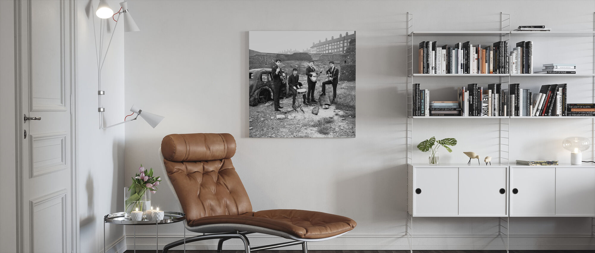 De Beatles - verlaten auto - Canvas print - Woonkamer