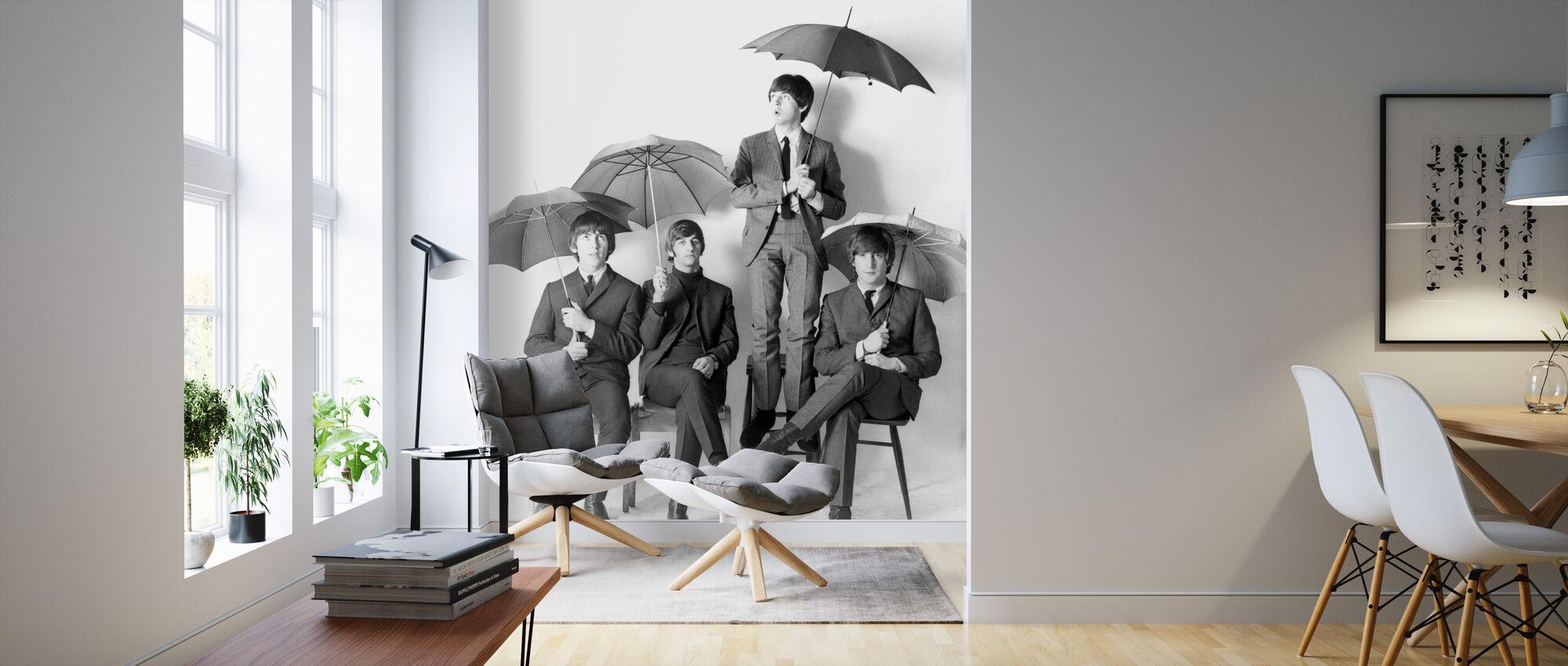 De Beatles - Paraplu's - Behang - Woonkamer