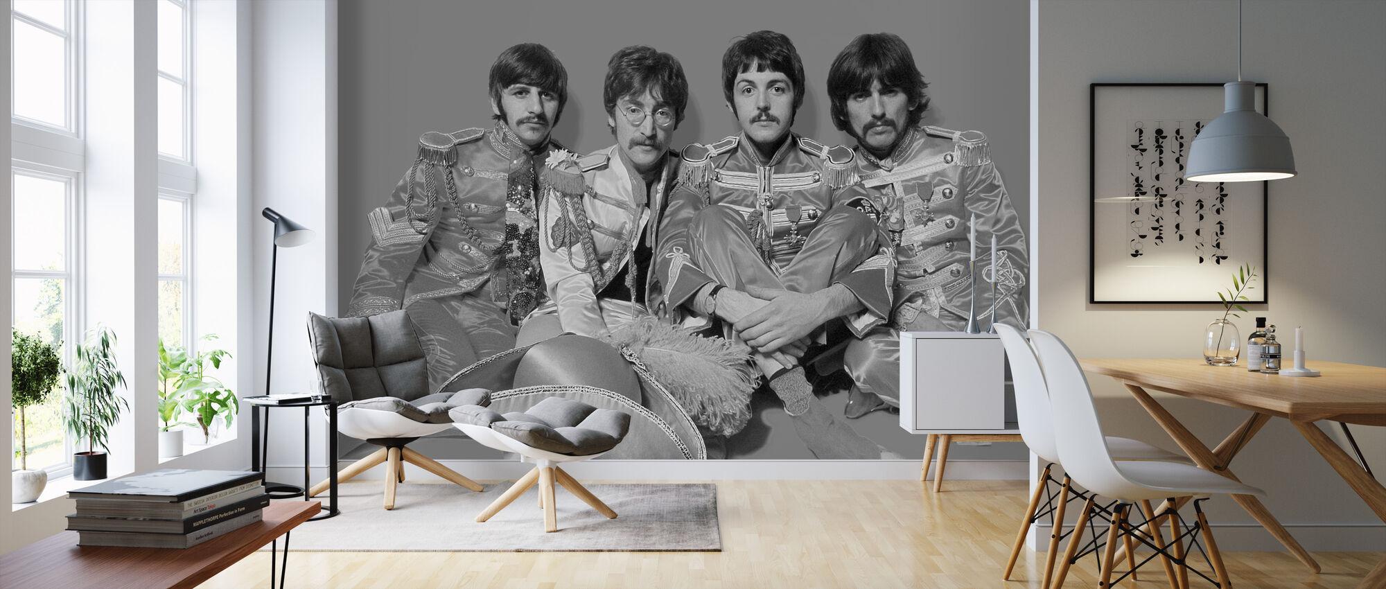 Beatles - Kersantti Pepperit Yksinäiset sydämet Club Band Harmaa - Tapetti - Olohuone