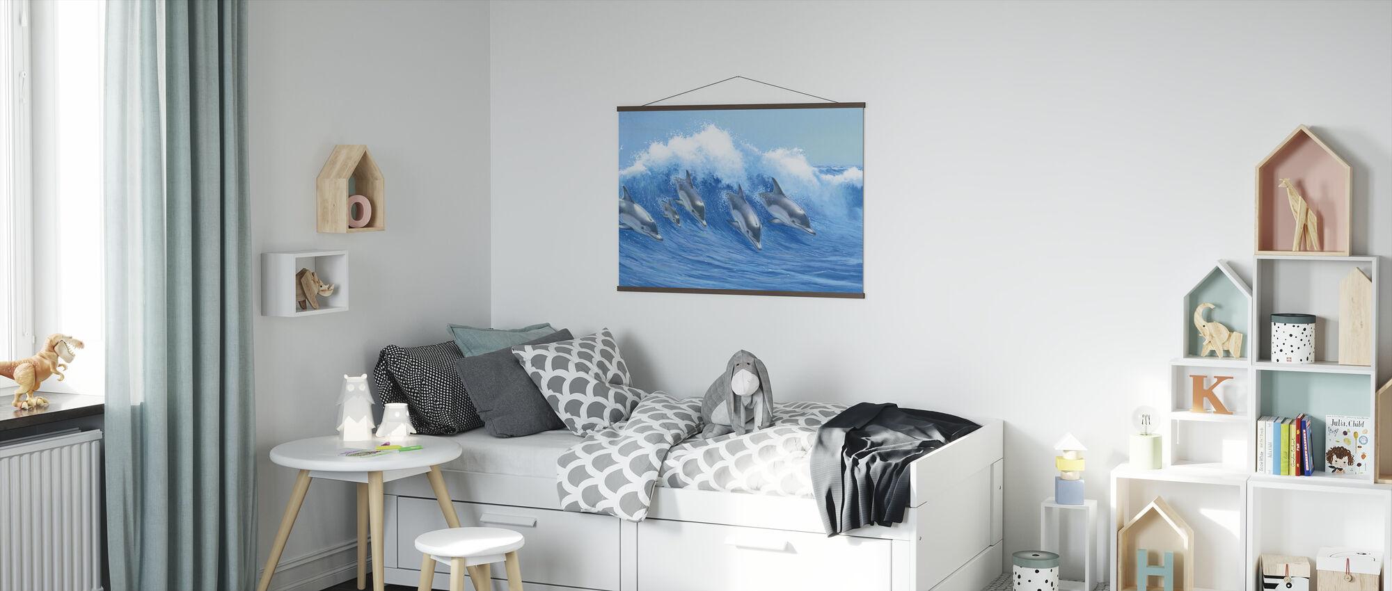 Dolfijnen springen - Poster - Kinderkamer