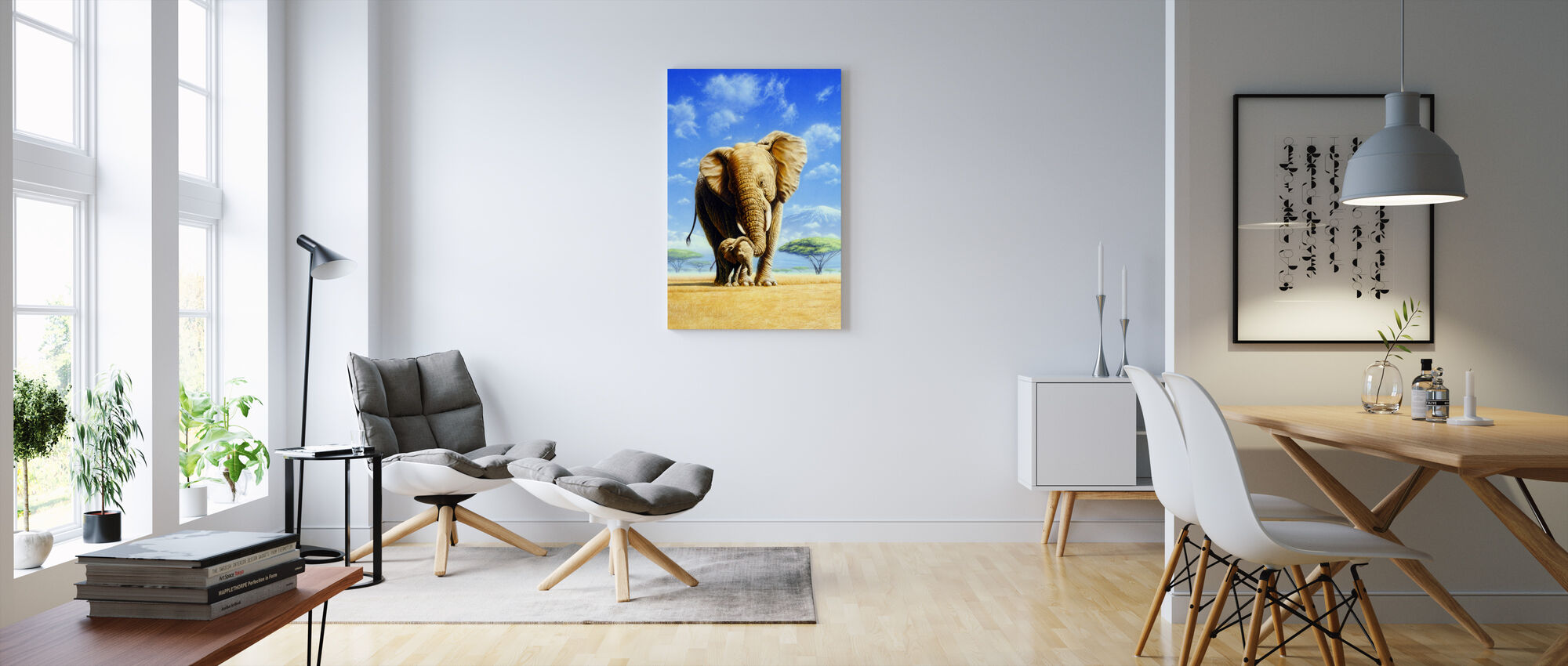 Olifant Moeder & Baby - Canvas print - Woonkamer