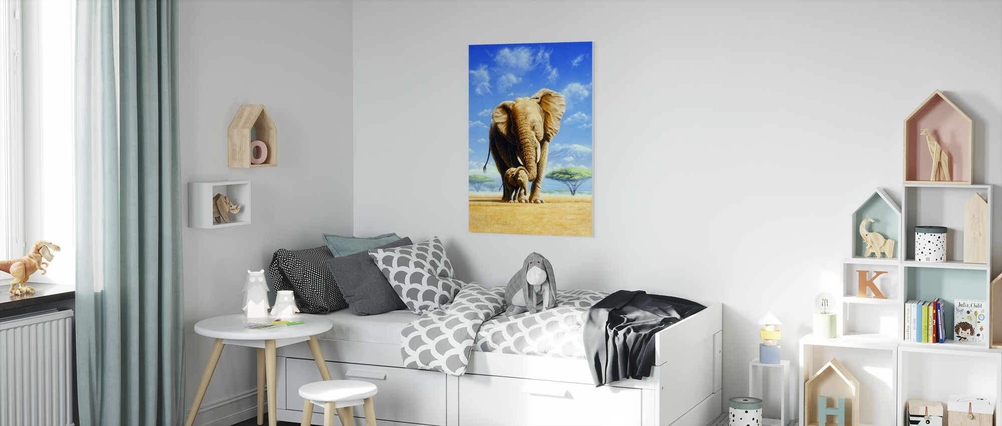 Elephant Mother & Baby - Canvas print - Kids Room