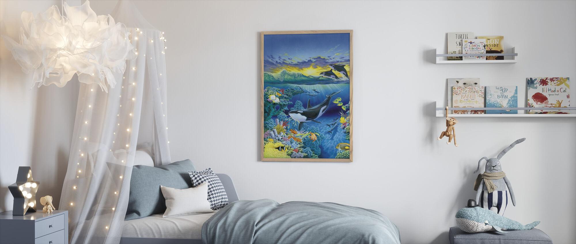 Levende Oceaan - Orca - Ingelijste print - Kinderkamer