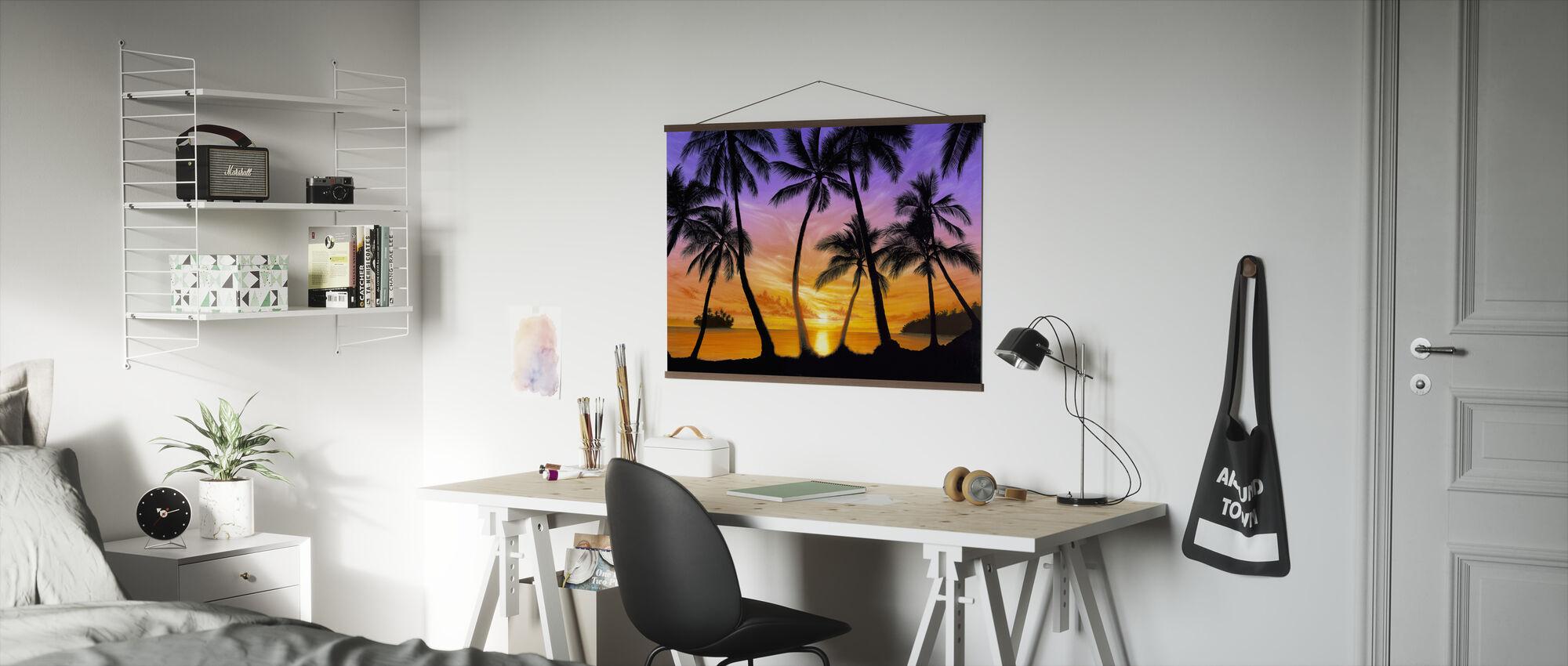 Palm strand solnedgang - Plakat - Kontor