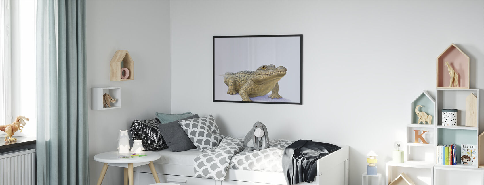 Krokotiilin etuosa - Kehystetty kuva - Lastenhuone