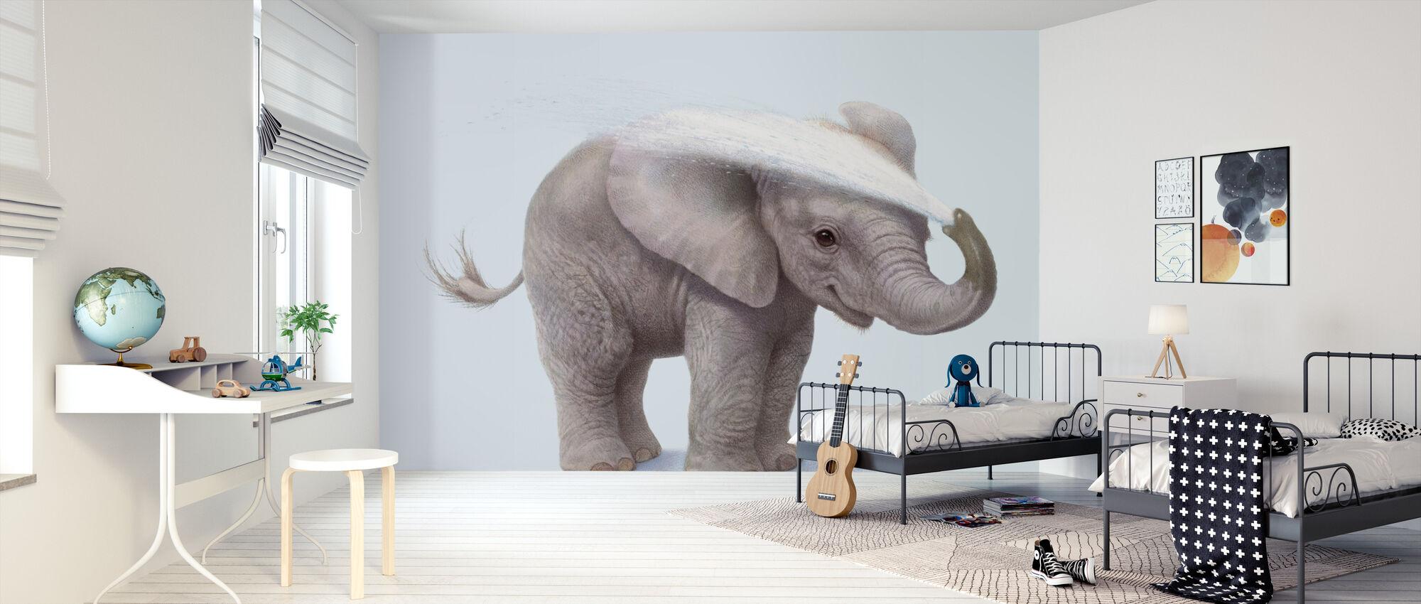 Elephant Calf Washing - Wallpaper - Kids Room