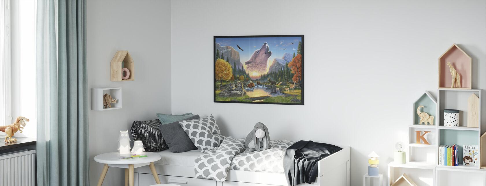 Wilderness Harmony - Wolf - Framed print - Kids Room
