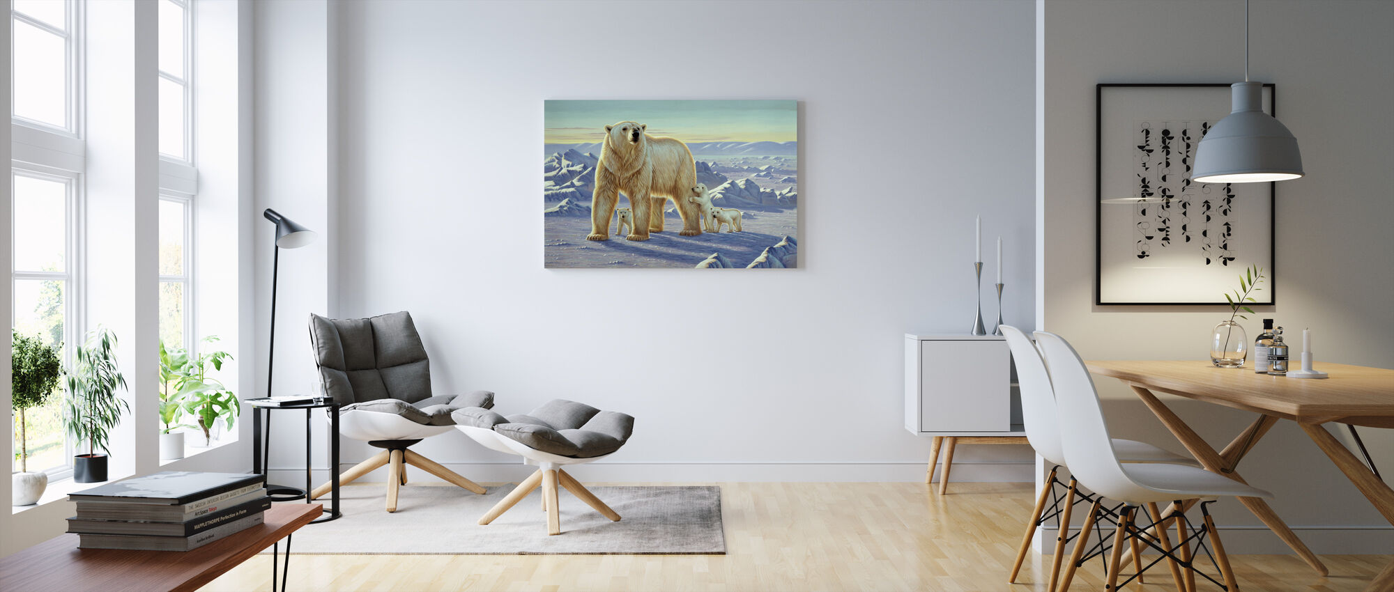 Polar Bear with Cubs - Canvas print - Living Room