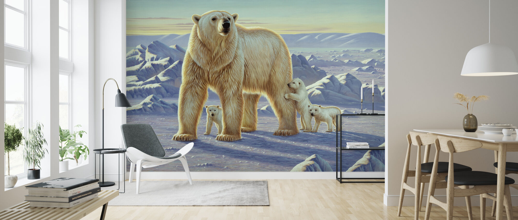 Polar Bear with Cubs - Wallpaper - Living Room