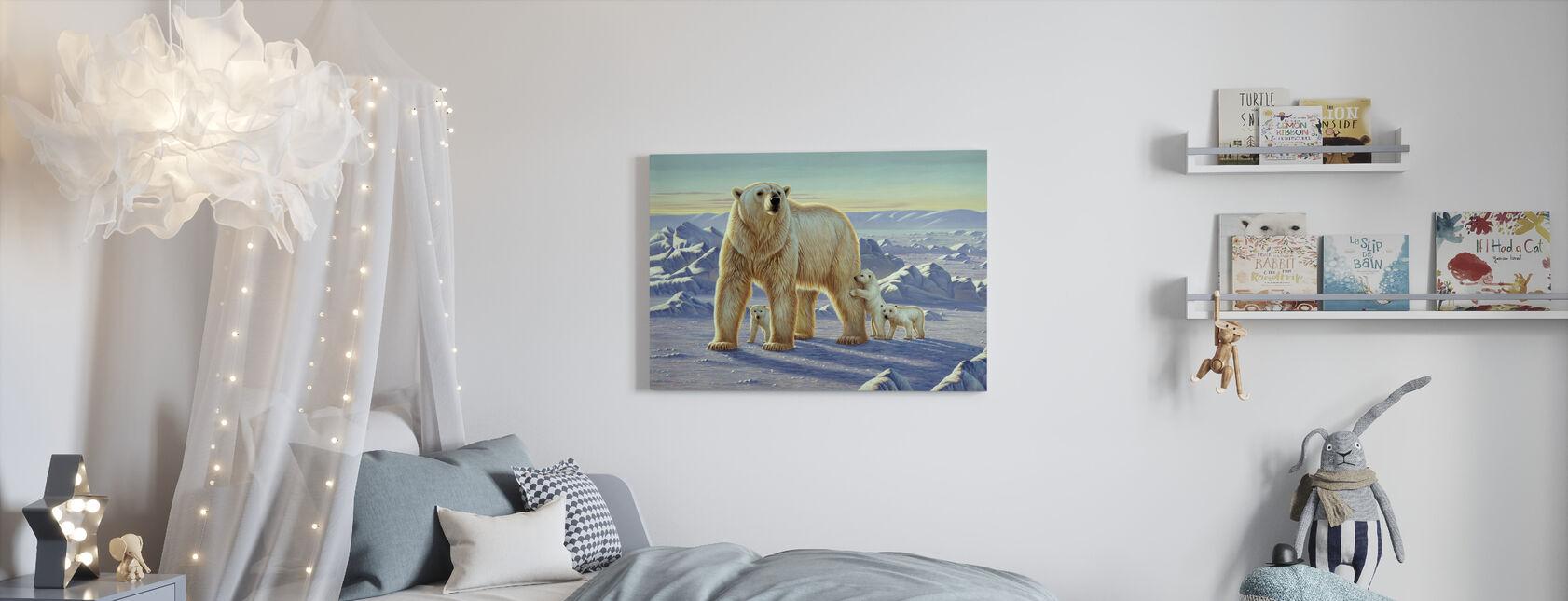 Jääkarhu ja poikaset - Canvastaulu - Lastenhuone