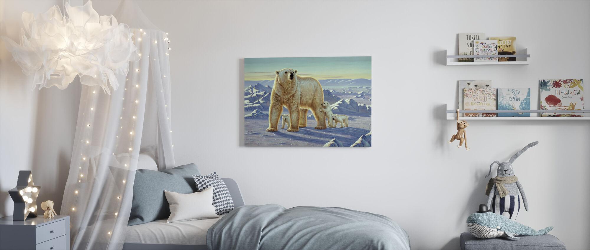 Isbjørn med unger - Lerretsbilde - Barnerom
