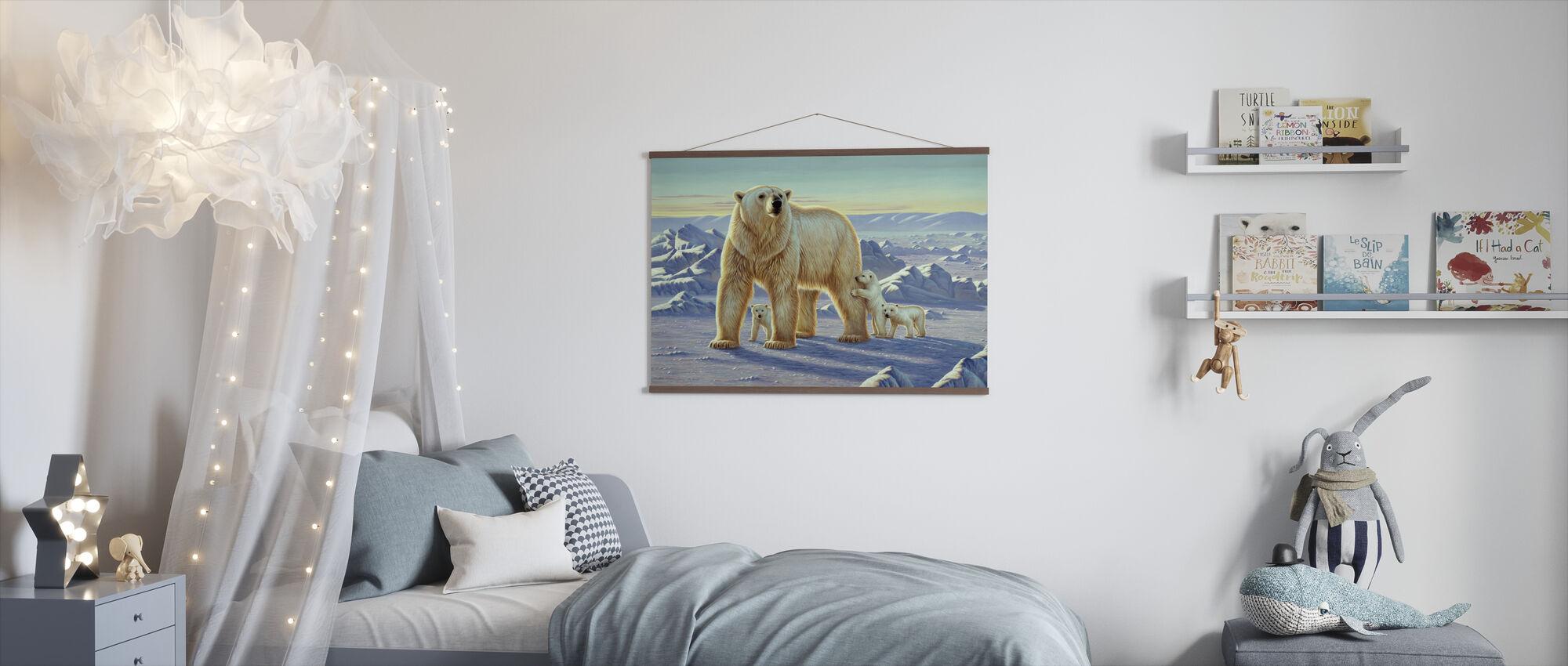Isbjørn med unger - Plakat - Barnerom