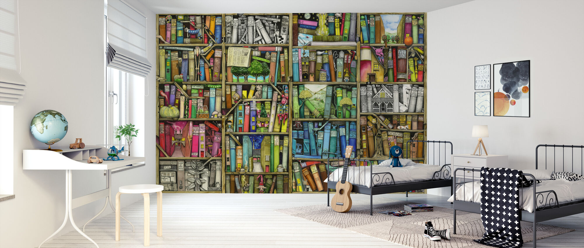 Fantasy Bookshelf - Wallpaper - Kids Room