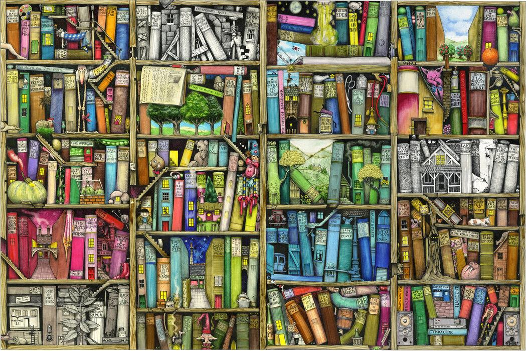 Fantasy Bookshelf Affordable Wall Mural Photowall