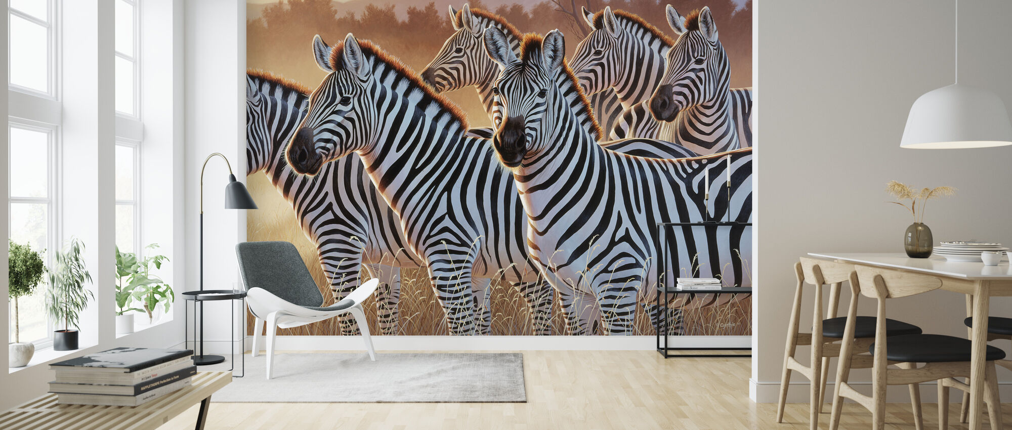 Zebras in a Group - Wallpaper - Living Room