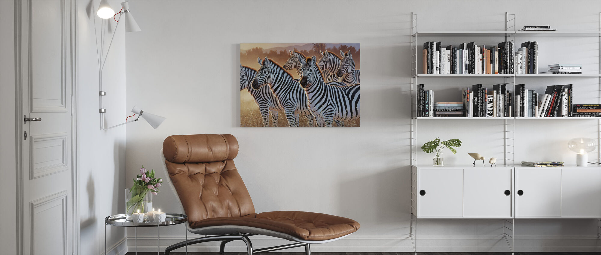 Zebras in a Group - Canvas print - Living Room