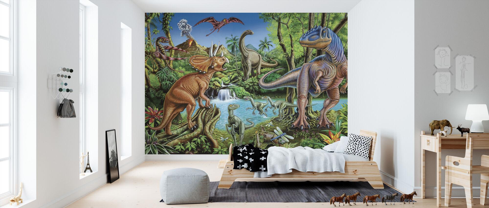 Dinosauruswaterval - Behang - Kinderkamer
