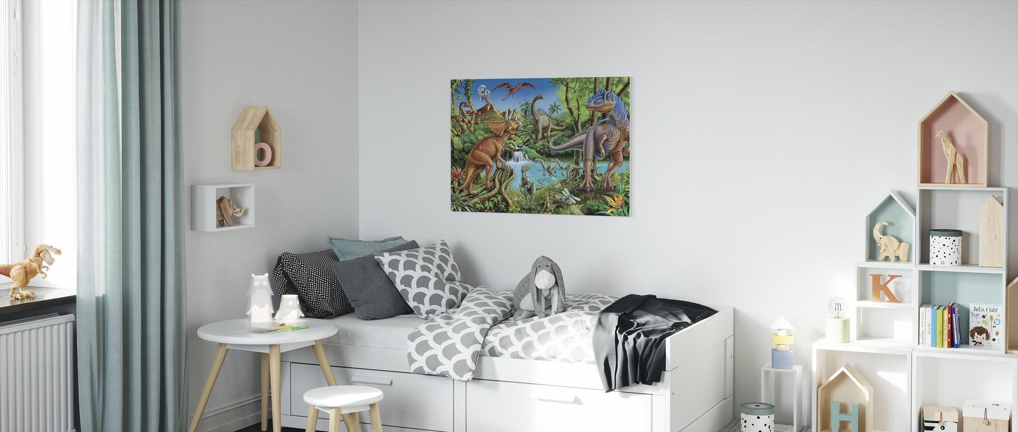 Dinosaur Waterfall - Canvas print - Kids Room