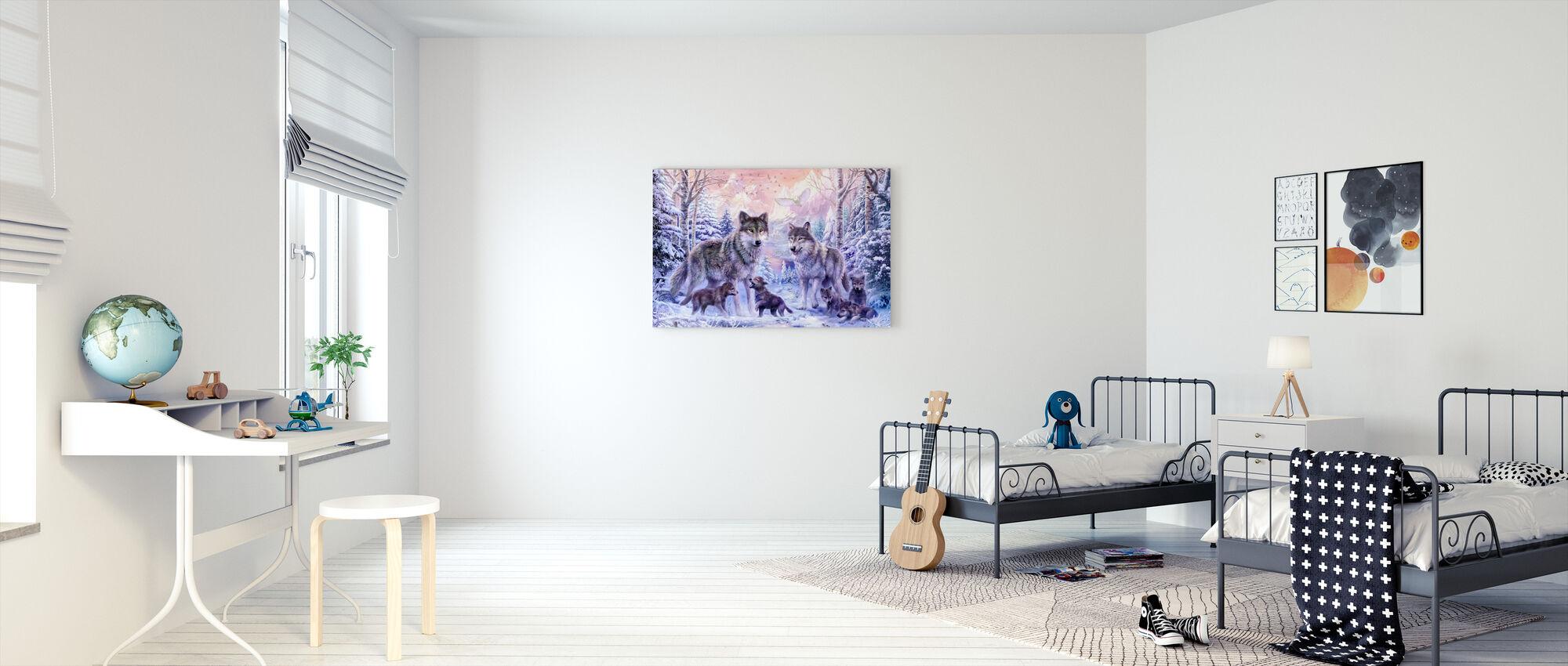 Vinter Wolf Familie - Billede på lærred - Børneværelse