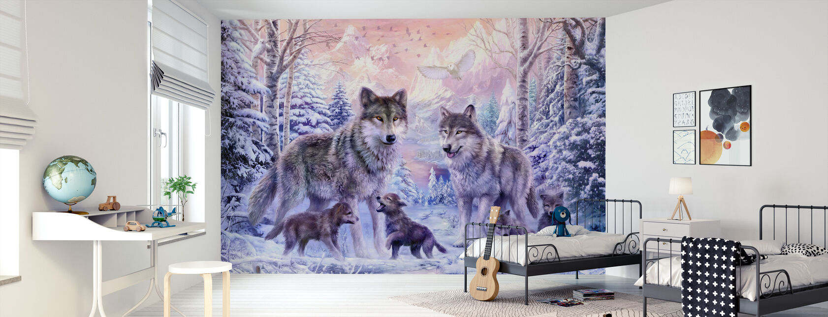 Winter Wolf Familie - Tapete - Kinderzimmer