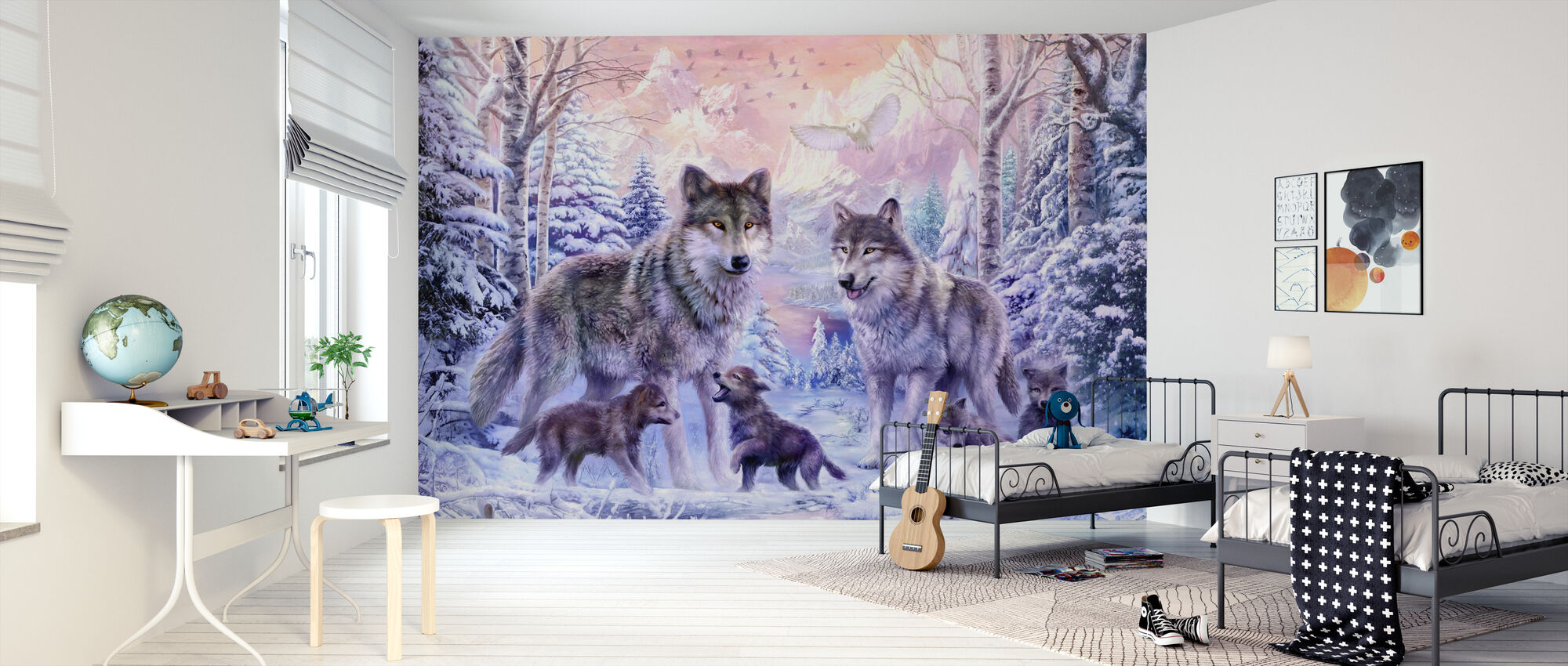 Winter Wolf Familie - Tapete - Kinderzimmer