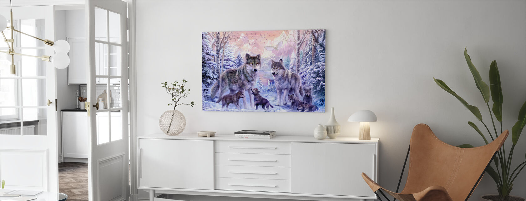 Winter Wolf Family - Canvas print - Living Room