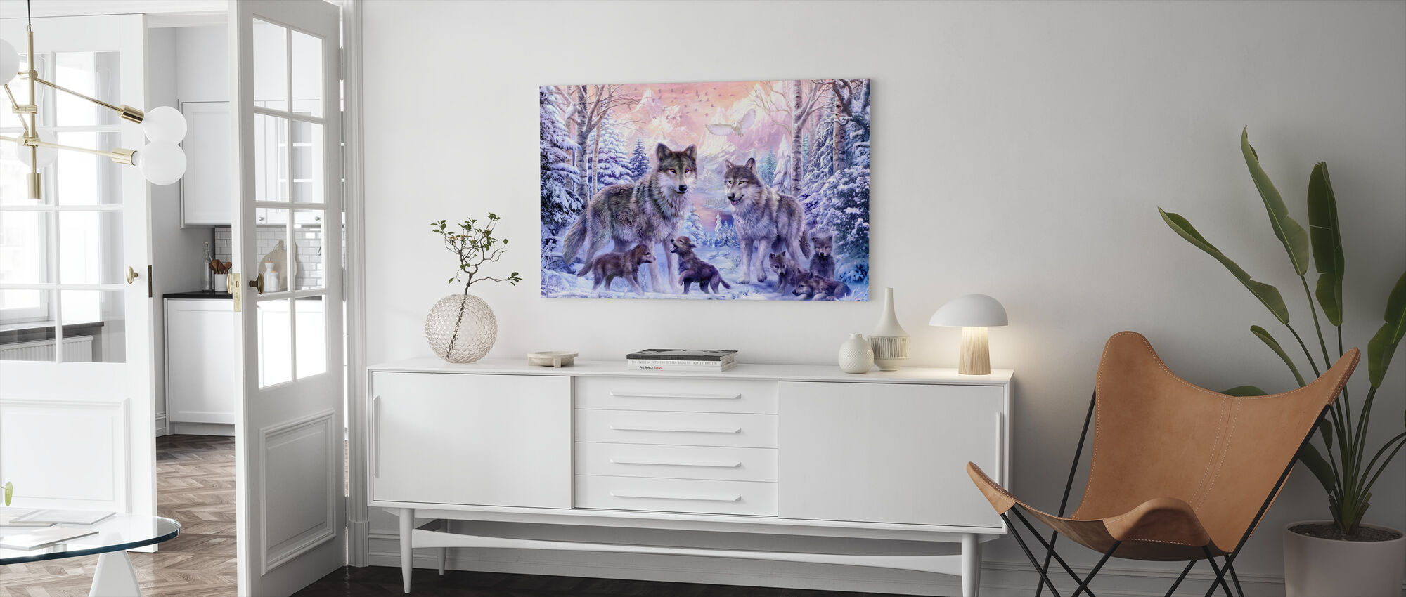 Winter Wolf Familie - Canvas print - Woonkamer