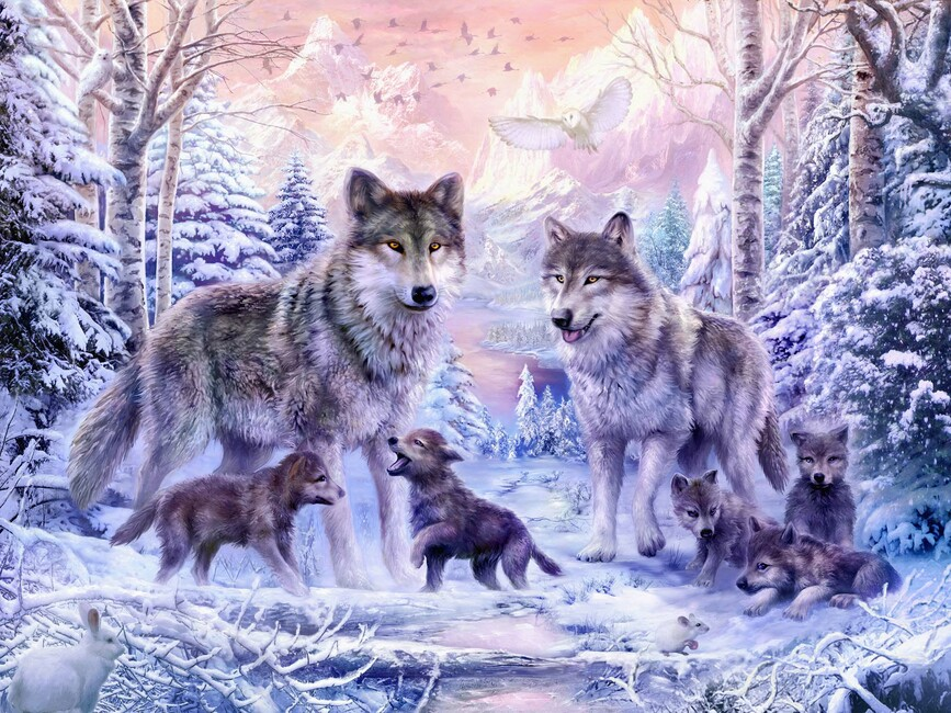 winter wolf family wall mural photo wallpaper photowall. Black Bedroom Furniture Sets. Home Design Ideas