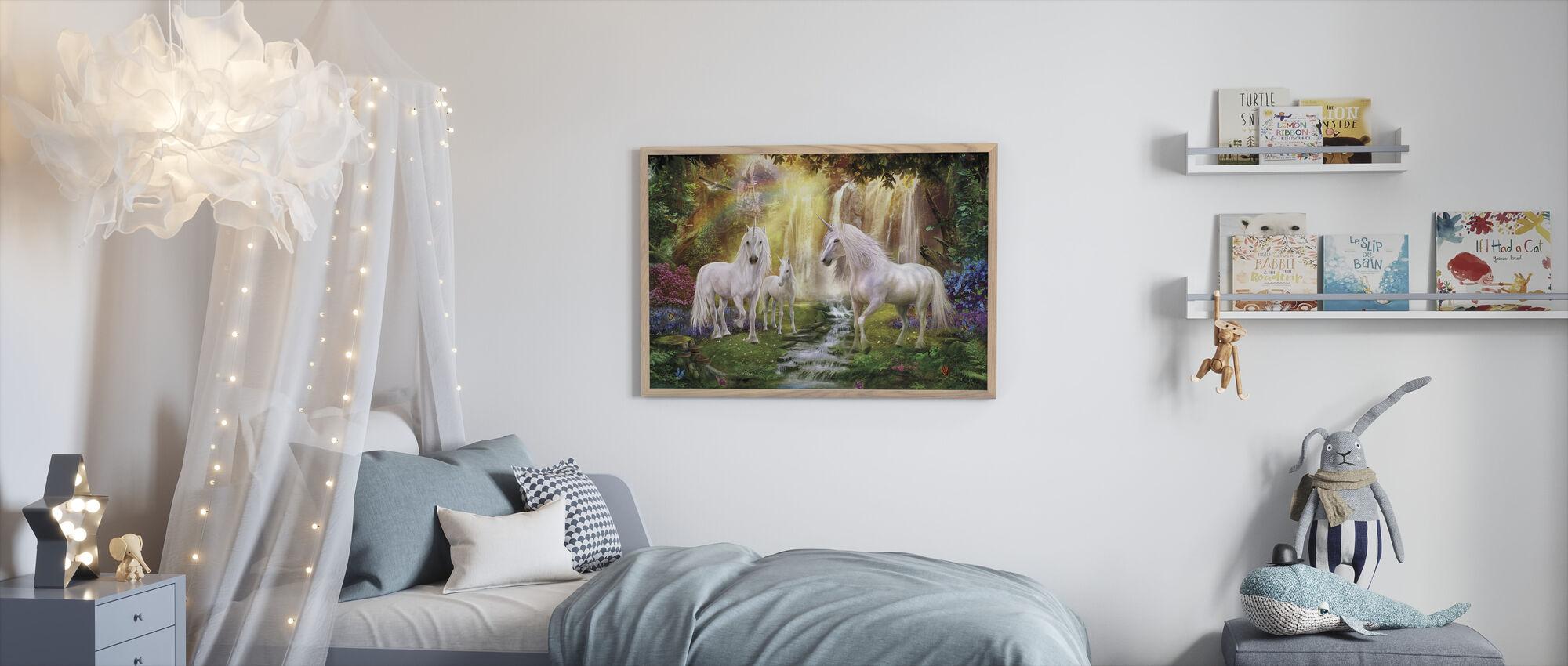 Waterfall Glade Unicorns - Framed print - Kids Room