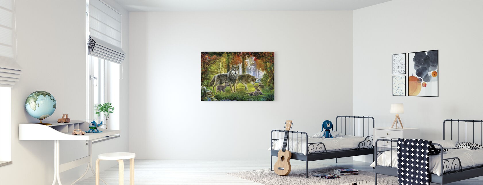 Summer Wolf Family - Canvas print - Kids Room