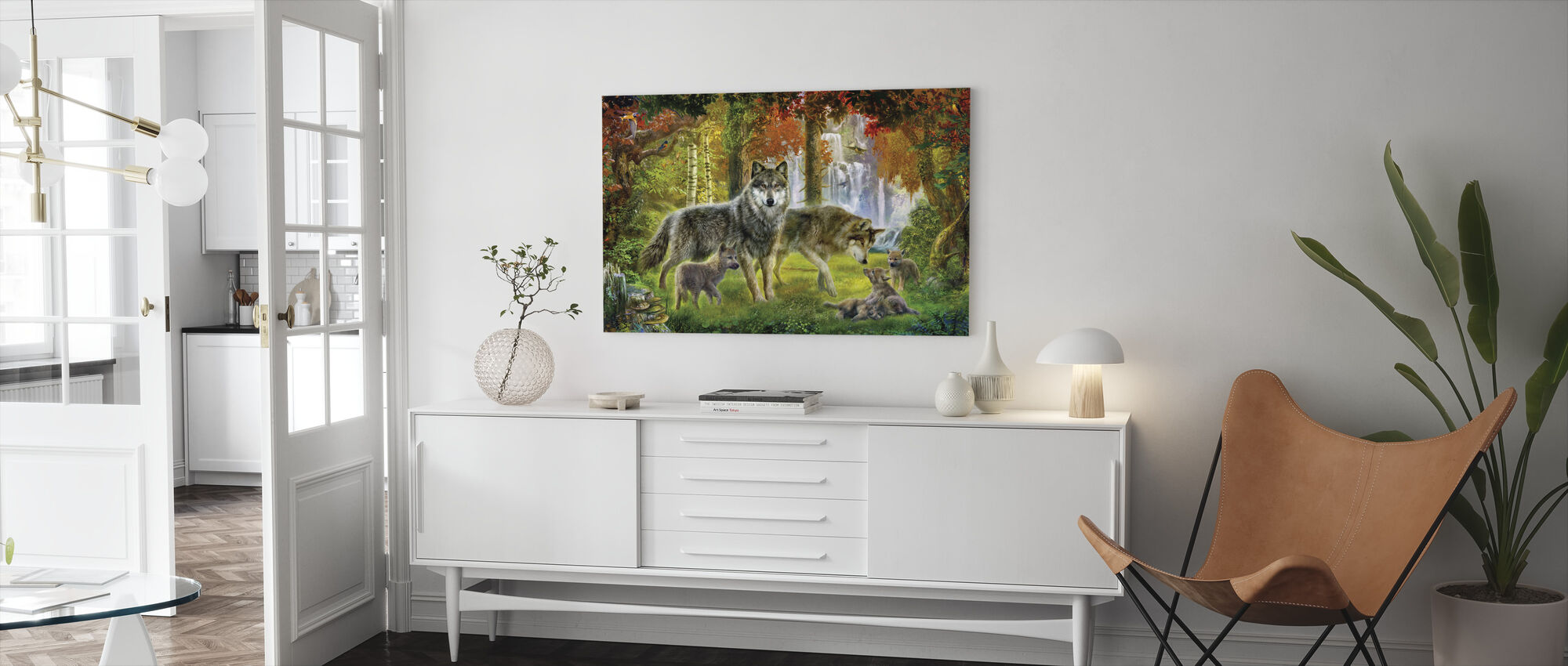 Summer Wolf Family - Canvas print - Living Room