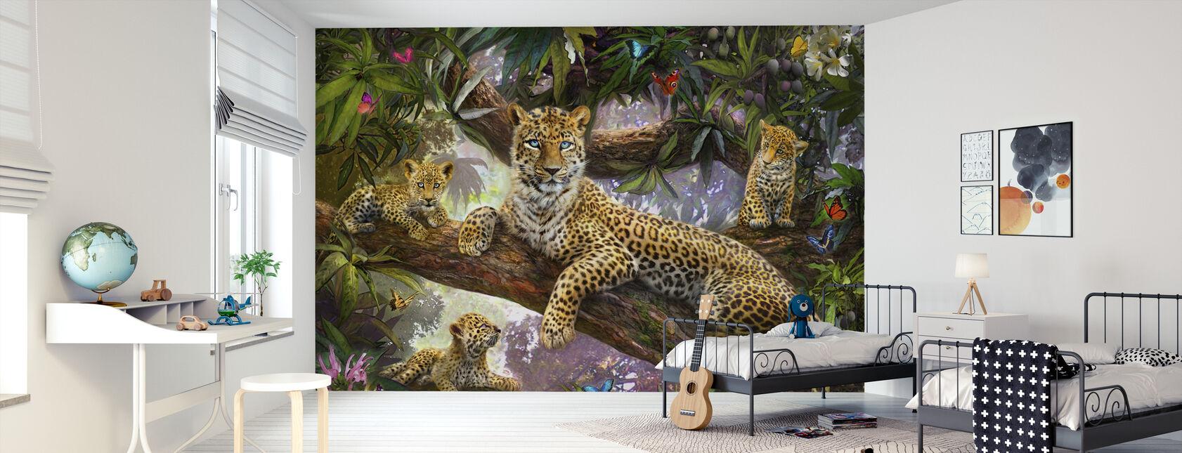 Tree Top Leopard Family - Wallpaper - Kids Room