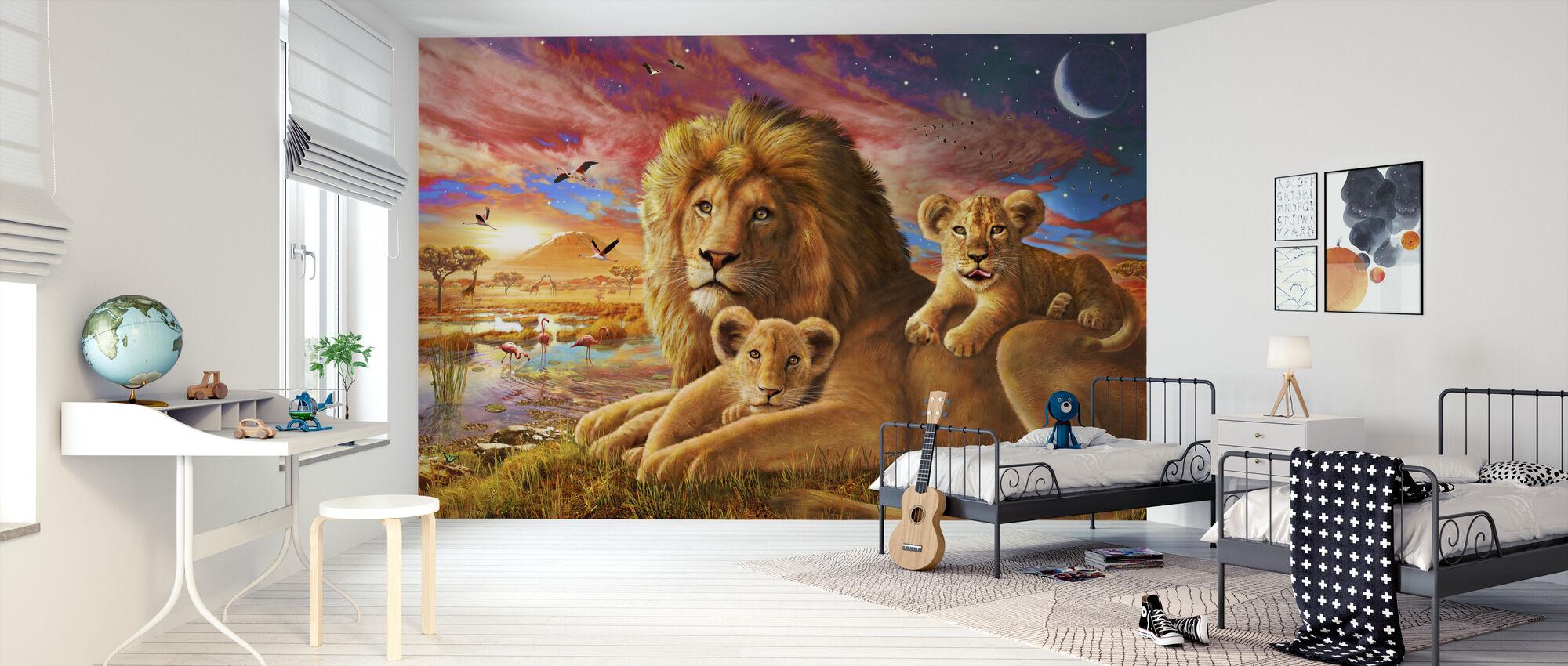 Lejonsoluppgång - Tapet - Barnrum