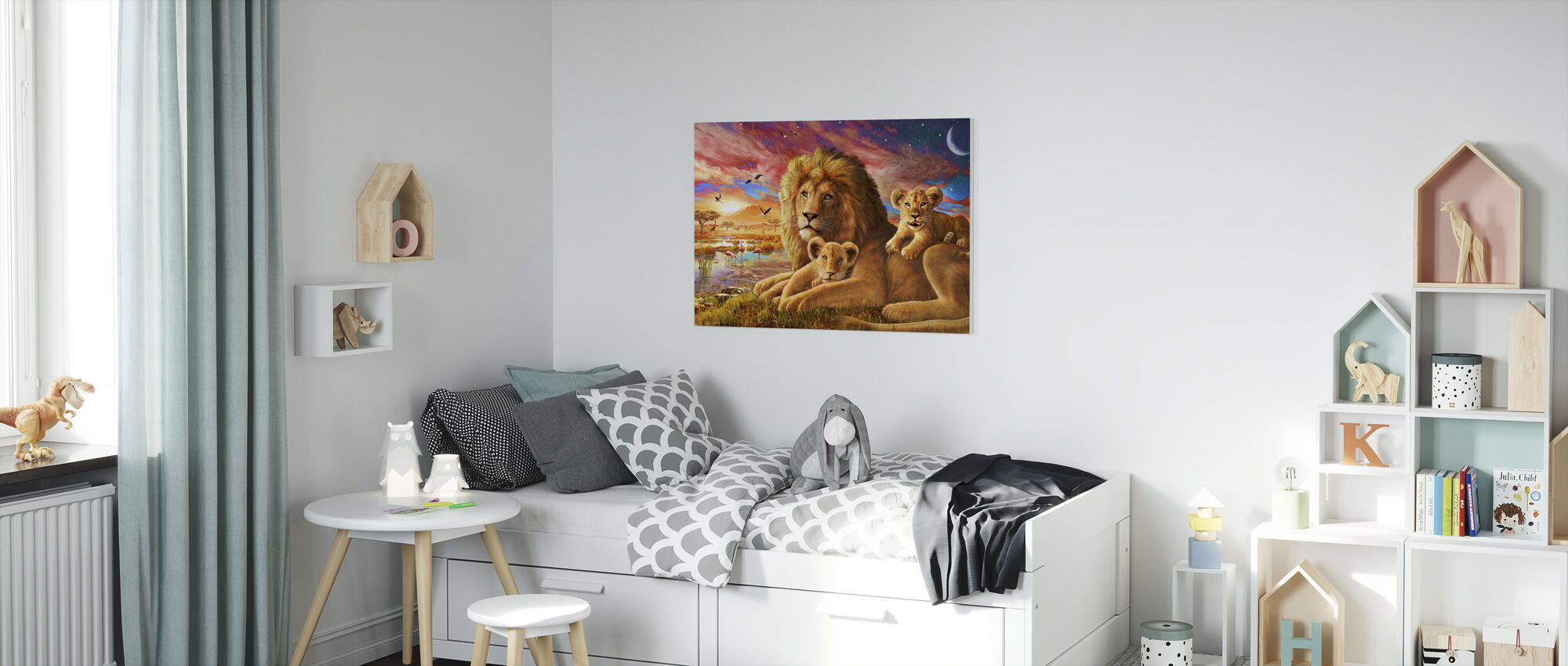 Leeuw zonsopgang - Canvas print - Kinderkamer