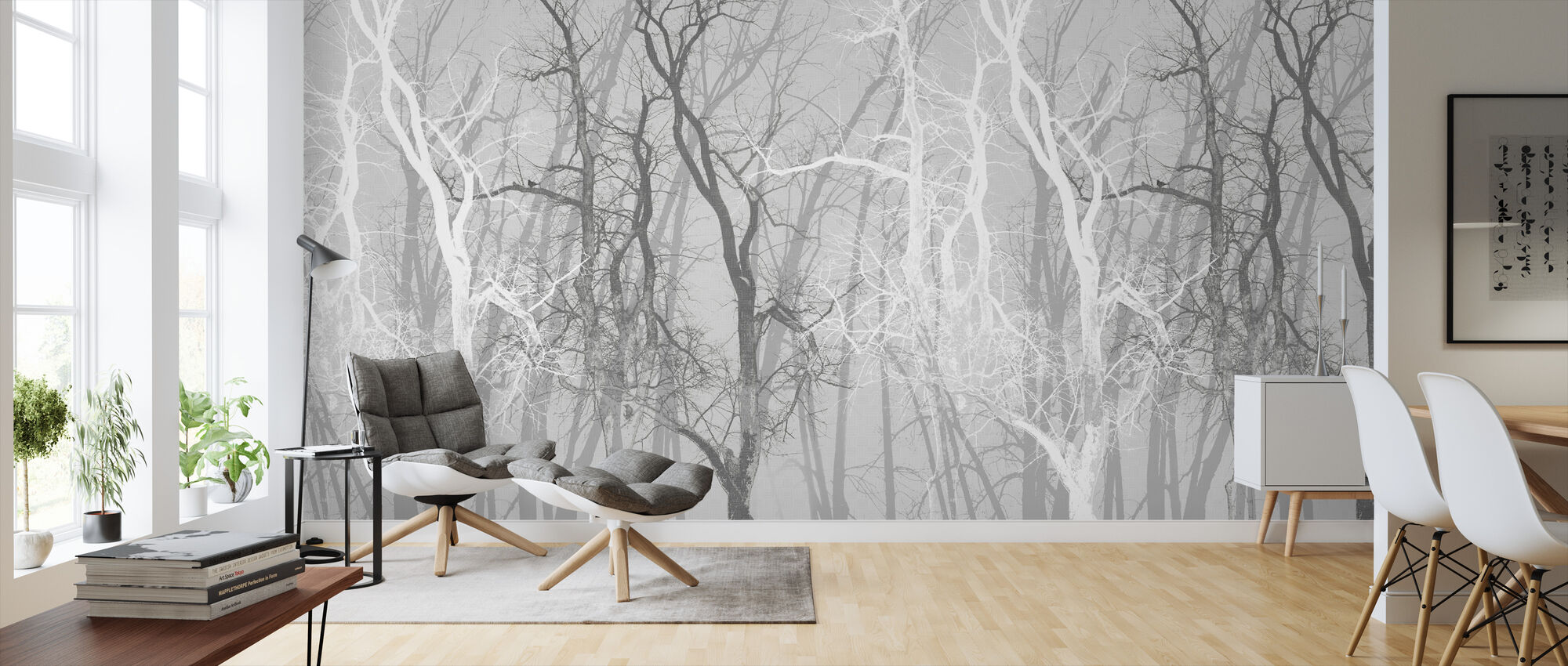 Wander Trees Charcoal - Wallpaper - Living Room