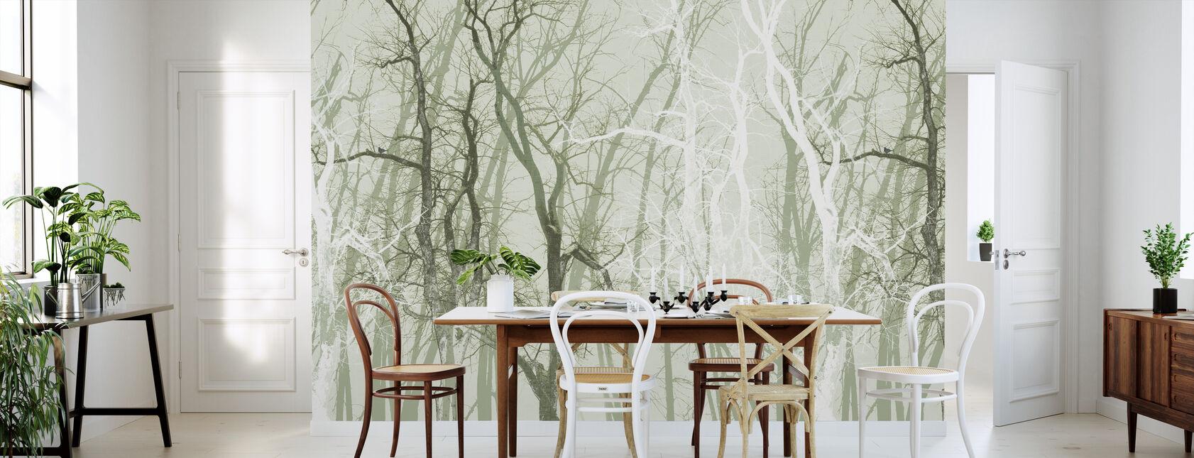 Wander Trees Green - Wallpaper - Kitchen