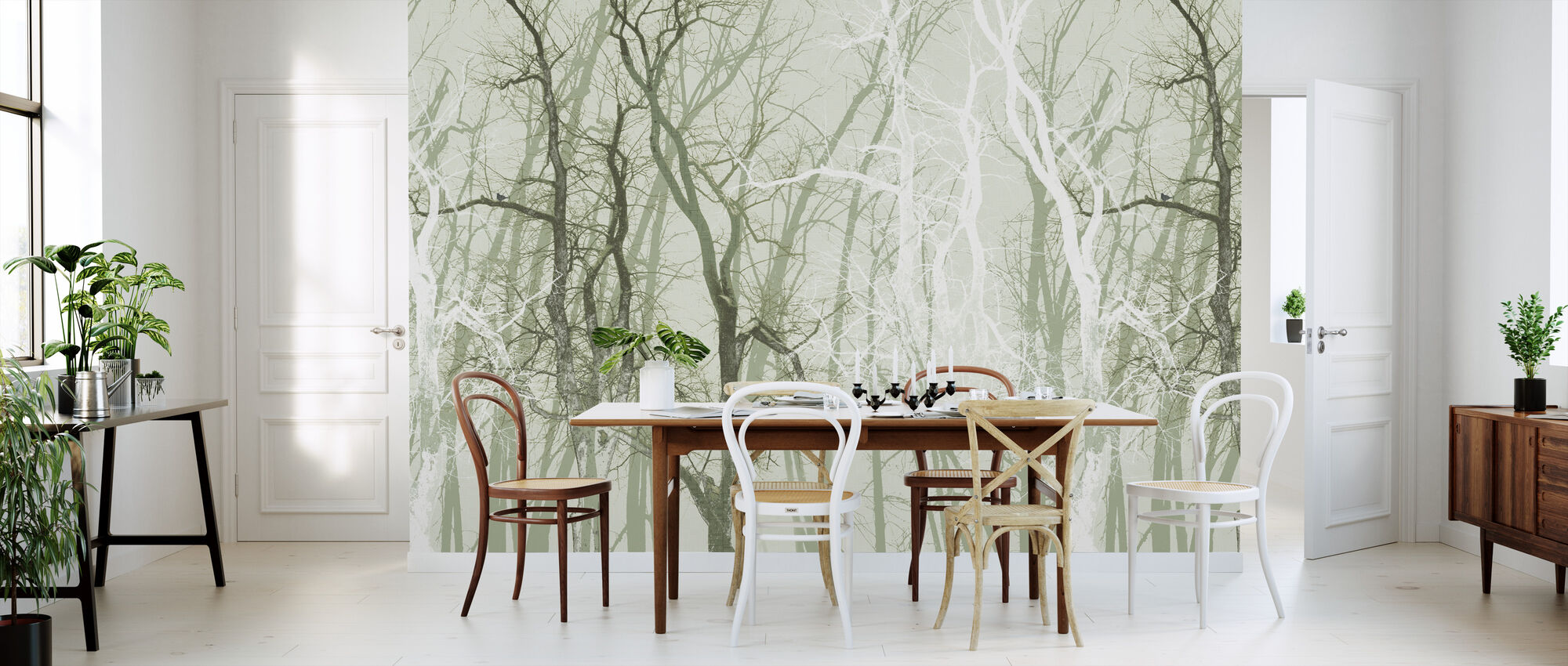Wander Trees Green - Wallpaper - Kitchen