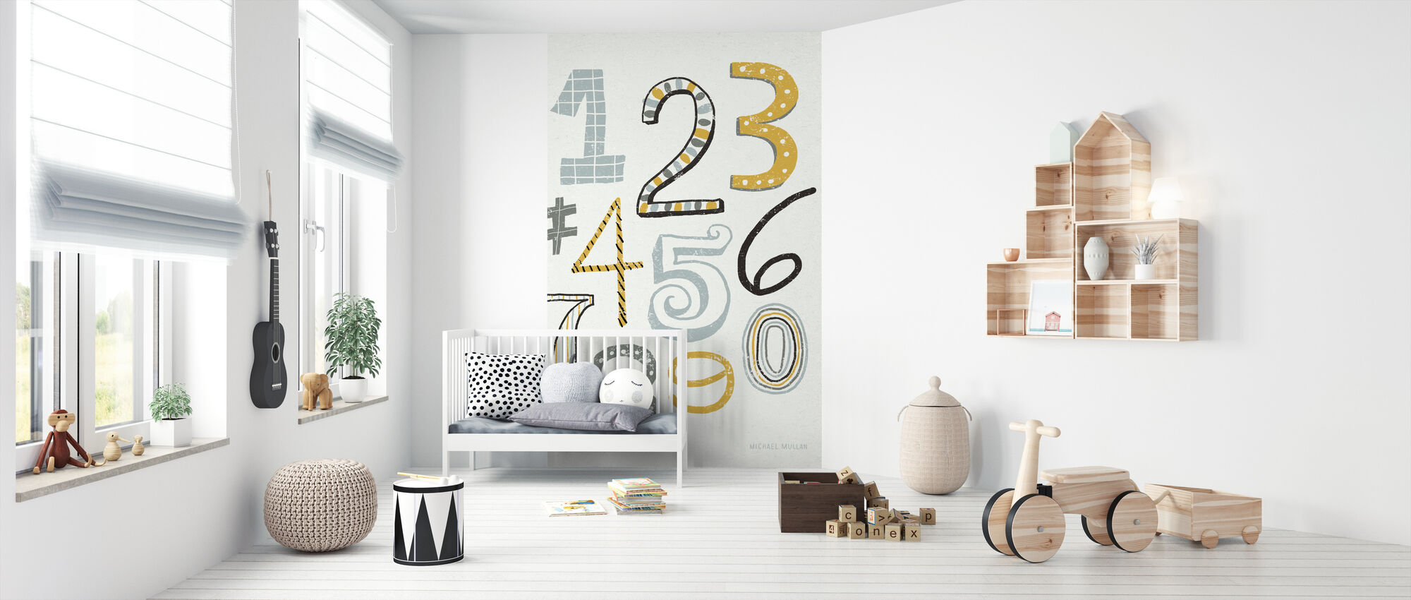 Funky Numbers - Wallpaper - Nursery