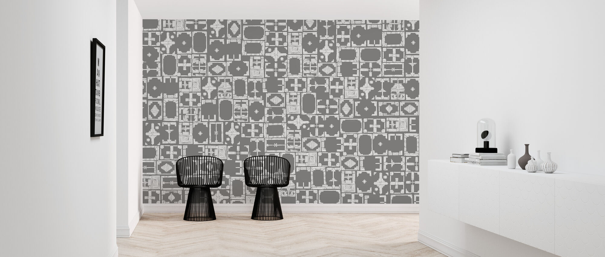Stained Grey White - Wallpaper - Hallway