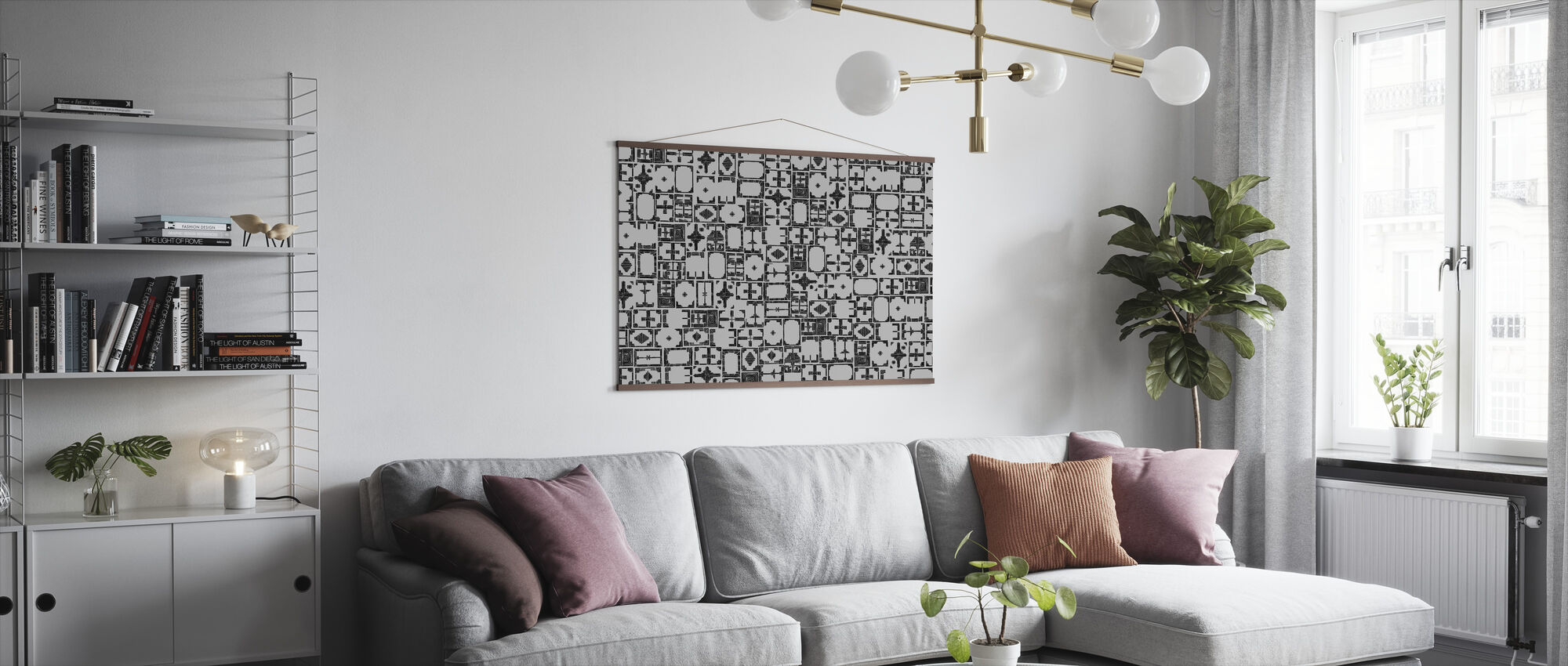 Stained Black Grey - Poster - Living Room