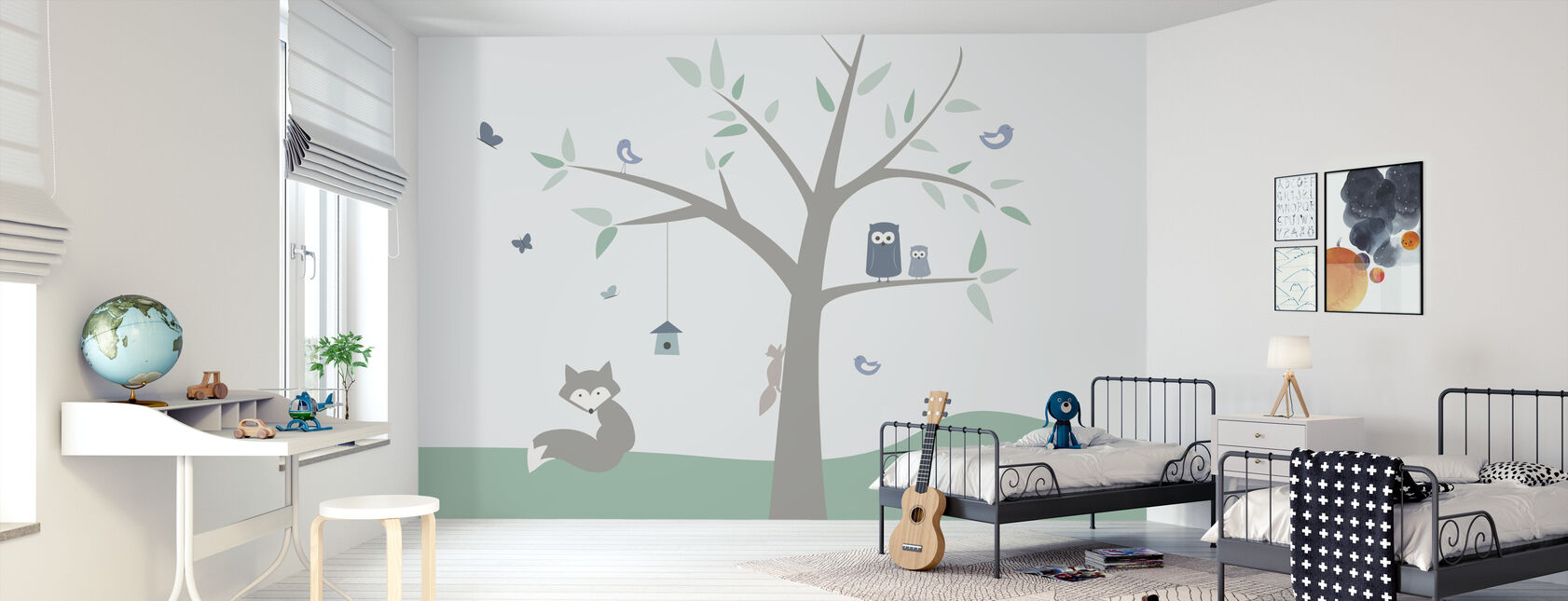 Dierenboom - groen - Behang - Kinderkamer