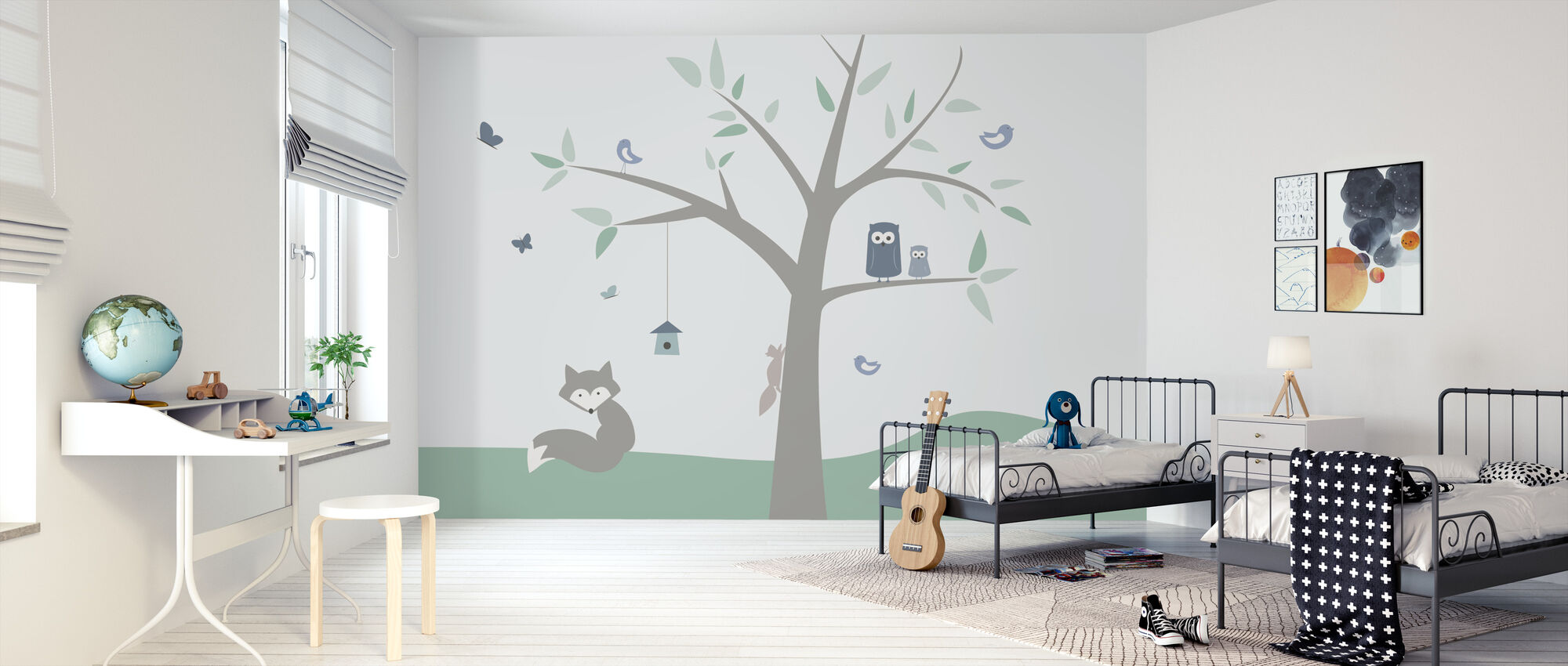 Animal Tree - green - Wallpaper - Kids Room